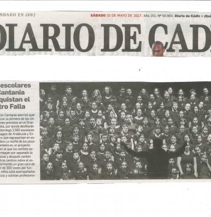 20170520 Cantania actuación portada Diario de Cádiz