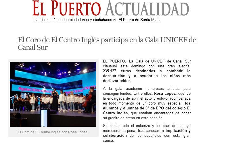 El coro de El Centro Inglés participa en la Gala UNICEF de Canal Sur