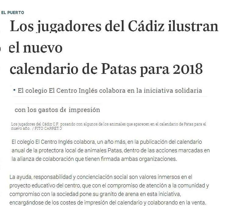 Los jugadores del Cádiz ilustran el nuevo calendario de  Patas para 2018