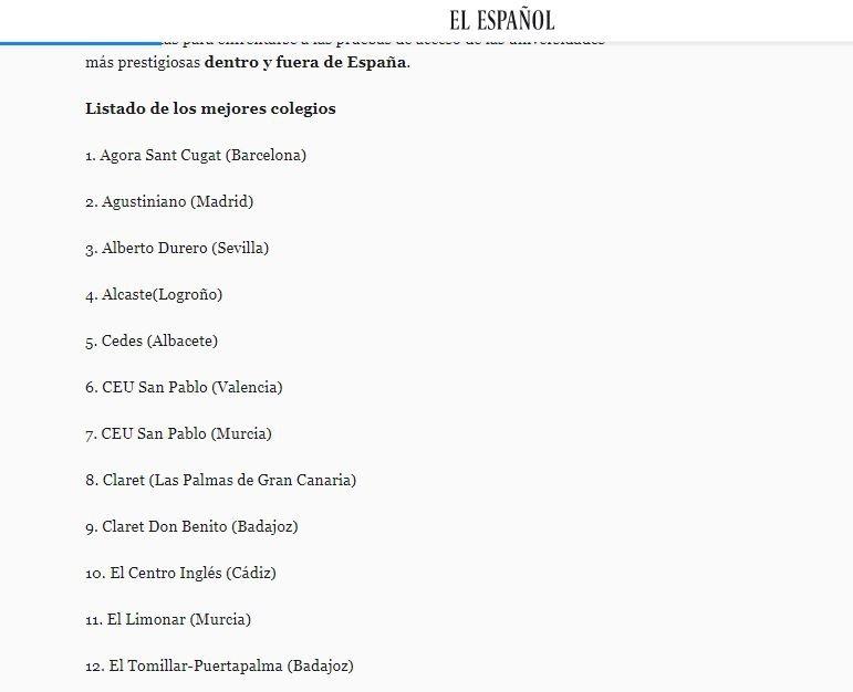 Listado de los mejores Colegios – El Español