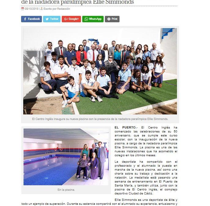 El Centro Inglés inaugura su piscina con la presencia de la nadadora paralímpica Ellie Simmonds